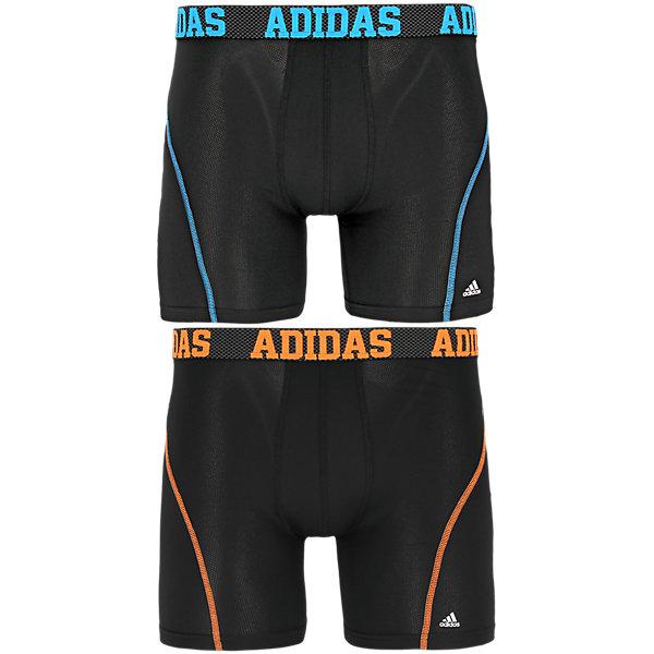 Sport Performance Climacool 2-Pack Boxer Brief, Black/Solar Blue Black/Solar Orange, large