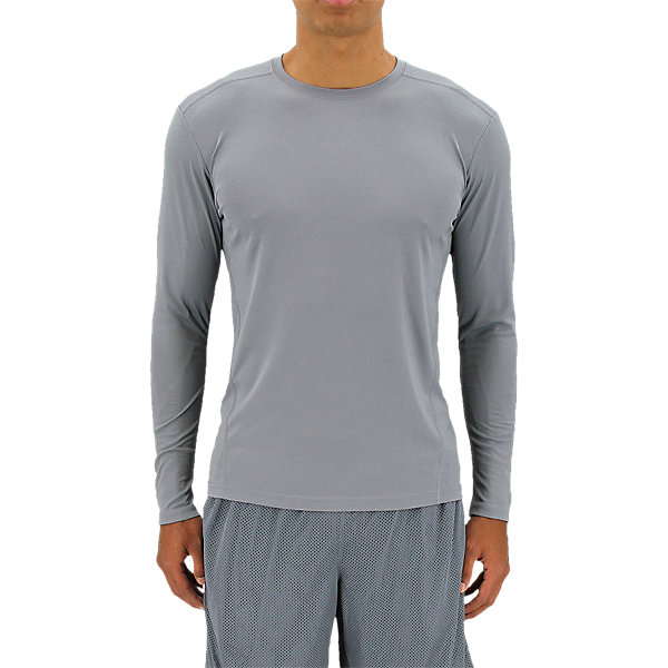 Climalite Single Long-Sleeve Crew, Grey, large
