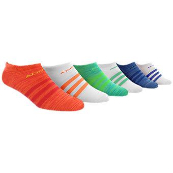Superlite 6-Pack No Show, Shock Red-Glow Orange Space Dye/Glow Orange/Solar Green-Shock Mint Space Dye/Flash Green/Ray Blue-Un