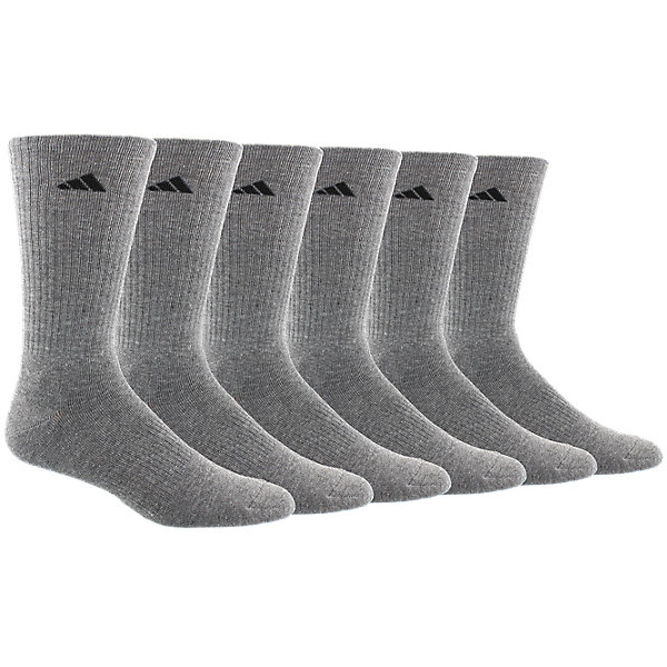 Athletic 6-Pack Crew, Heather Grey/black, large