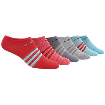 Superlite 6-Pack No Show, Core Pink/Clear Aqua/Core Pink-Light Flash Red Space Dye/Light Onix/Clear Onix/Light Onix-White Spac