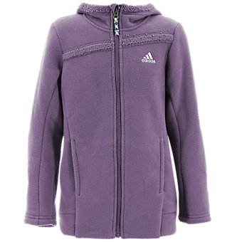 Girls Teddie Hooded Fleece, Ash Purple