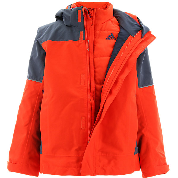 Boys Climaproof 3in1 Padded Jacket, Bold Orange/Midnight Gray, large