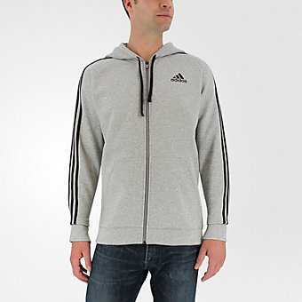 Essential Cotton Fleece Full Zip, Medium Gray Hthr/Black