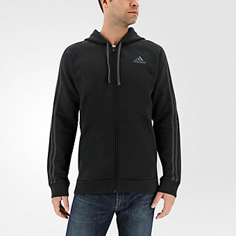 Essential Cotton Fleece Full Zip, Black/Dark Solid Gray