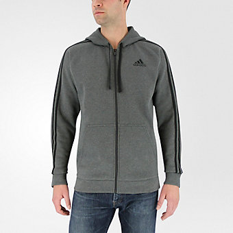 Essential Cotton Fleece Full Zip, Dark Gray Hthr/Black
