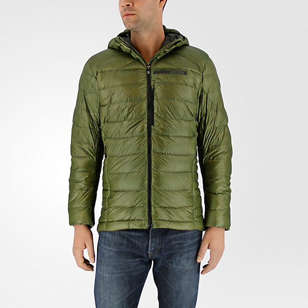 Terrex Climaheat Agravic Down Hooded Jacket, Olive Cargo/utility Black, large