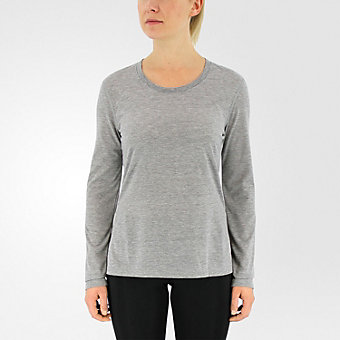 Ultimate Long Sleeve Side Slit, Medium Gray Hthr/Matte Silver