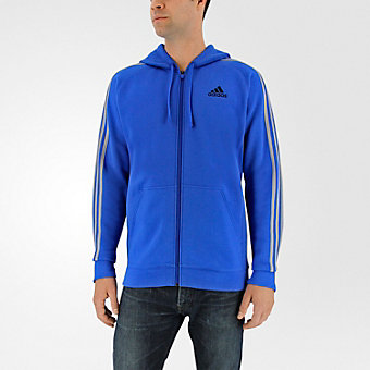 Essential Cotton Fleece Full Zip, Blue/Medium Solid Gray