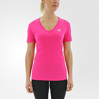 Ultimate Short Sleeve V-neck, Shock Pink/Matte Silver