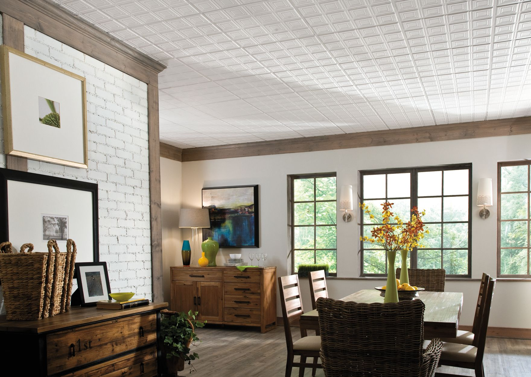 dining room with brick wall and gorgeous ceiling