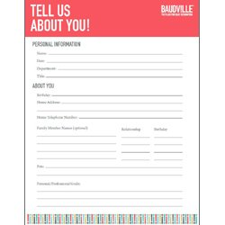 Free Tell Us About You Form