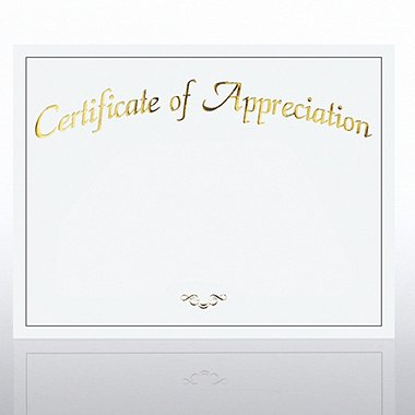 Foil Certificate Paper - Certificate of Appreciation - White