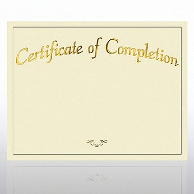 Foil Certificate Paper - Certificate of Completion - Cream