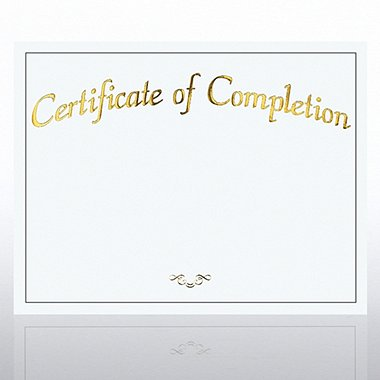 Foil Certificate Paper - Certificate of Completion - White