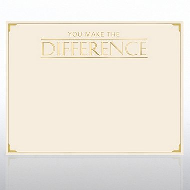 Foil Certificate Paper - You Make the Difference - Cream