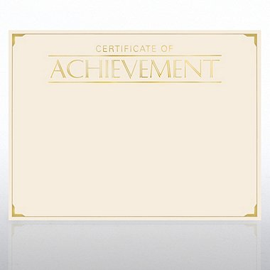 Foil Certificate Paper - Certificate of Achievement - Cream