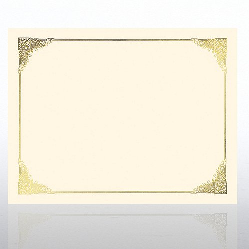 Ornate Foil Cream Certificate Paper
