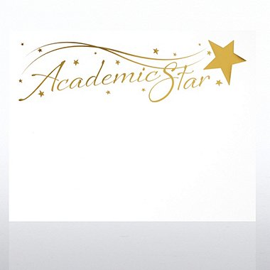 Foil-Stamped Certificate Paper - Academic Star - White