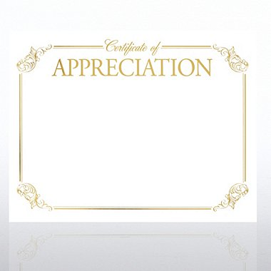Foil-Stamped Certificate Paper - Certificate of Appreciation