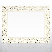 Foil-Stamped Certificate Paper - Galaxy Border - White