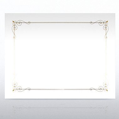 Foil-Stamped Certificate Paper - Border Design - White