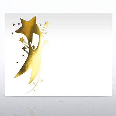 Foil-Stamped Certificate Paper - Star Player - White