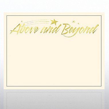 Foil Certificate Paper - Above & Beyond - Cream