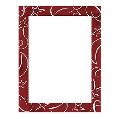 Border Paper - Red Gala - Silver Foil