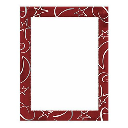 Silver Foil Red Gala Border Paper