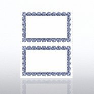 Certificate Paper - Scallop 2 Color - Half-Size - Blue/Gold