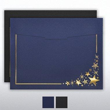 Foil-Stamped Certificate Folder - Corner Stars