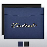 Foil Stamped Certificate Folder- Excellence Star Trio