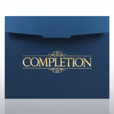 Foil-Stamped Certificate Folder - Completion - Blue