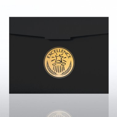 Certificate Folder - Excellence Star- Black w/Gold Foil