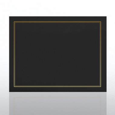 Certificate Cover - Gold Foil Border - Black