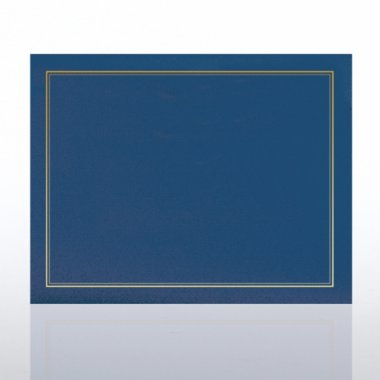 Certificate Cover - Gold Foil Border - Blue