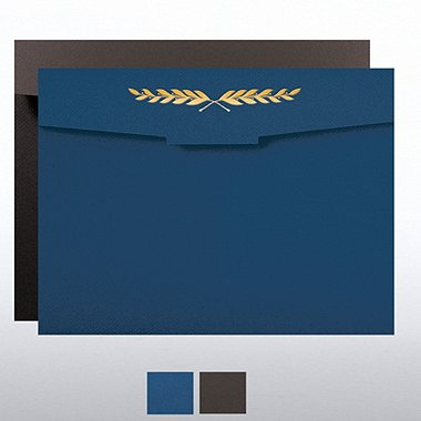 Laurel Flap Design Foil Certificate Folder