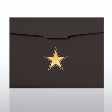 Foil-Stamped Certificate Folder - Contemporary Star - Black