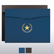 Foil-Stamped Certificate Folder - Star Laurel