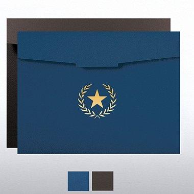 Foil-Stamped Certificate Folder - Star Laurel