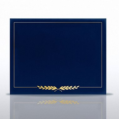 Certificate Cover - Gold Foil Border - Blue Laurels