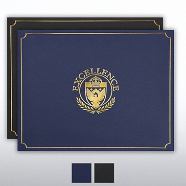 Certificate Cover - Gold Foil - Excellence Shield