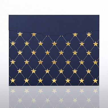 Foil-Stamped Certificate Folder - Star Quilt - Blue