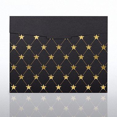 Foil-Stamped Certificate Folder - Star Quilt - Black