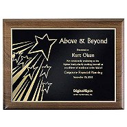 Walnut Plaque - Above & Beyond - Gold