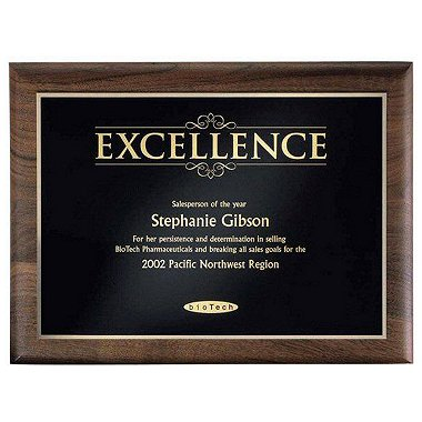 Walnut Plaque - Excellence - Gold