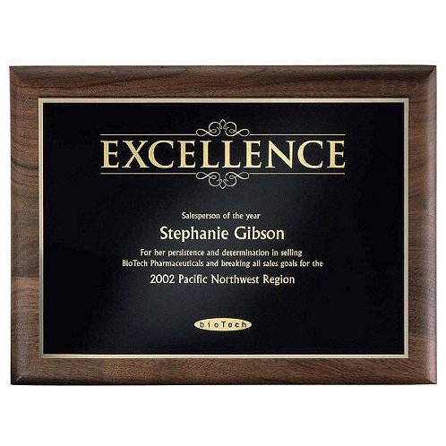 Gold Excellence Walnut Plaque