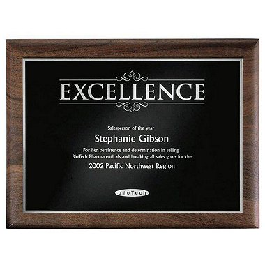 Walnut Plaque - Excellence - Silver