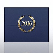 Foil-Stamped Certificate Folder - Laurels - 2016 - Blue